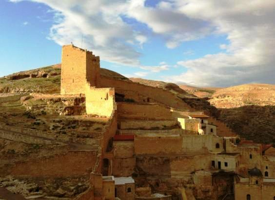 womens tower at Mar Saba Monastery in the Judean Desert Israel