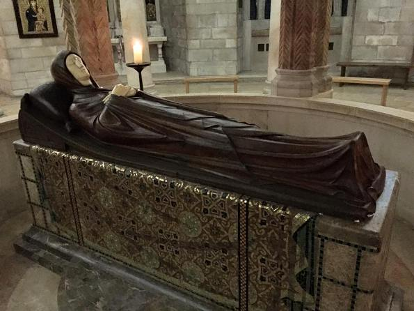 the Virgin Mary going to sleep at the Dormition Abbey on Mount Zion in Jerusalem