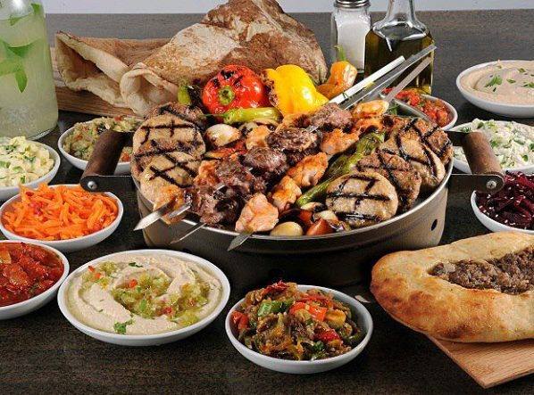 a variety of skewered meats and poultry at the Lebanese restaurant Abu-Gosh