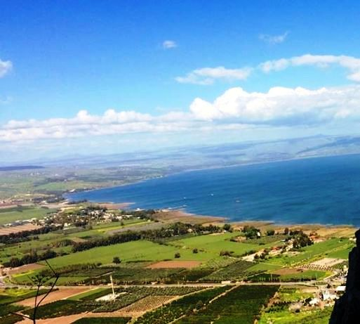 view of Magdala, Migdal Israel from Mount Arbel