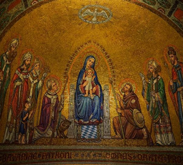 beautiful mosaic frescoes at Dormition Abbey Monastery on Mt. Zion in Jerusalem