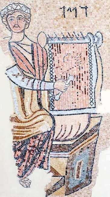 ancient mosaic at the Inn of the Good Samaritan Museum of David playing the harp