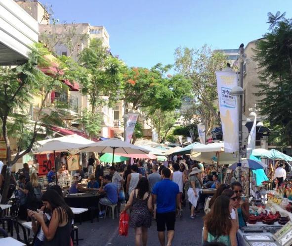 Stroll and shop around Nachlat Binyamin, Tel Aviv's outdoor arts and crafts market.