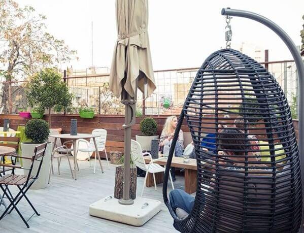 fun outdoor terrace at the Stay Inn Hostel in Jerusalem