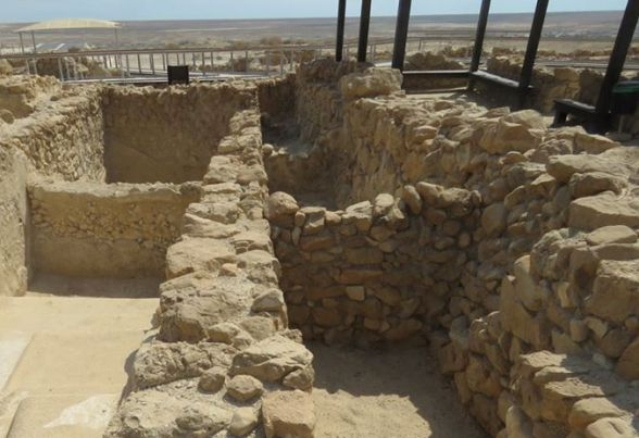 Ancient water mikvehs built by the Essenes in Qumran National Park in the Judean Desert near the Dead Sea