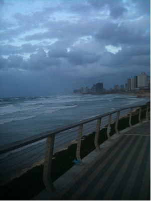 view of Tel Aviv from Jaffa during a January storm