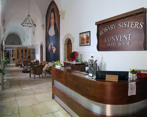 reception at the Rosary Convent guesthouse in Jerusalem