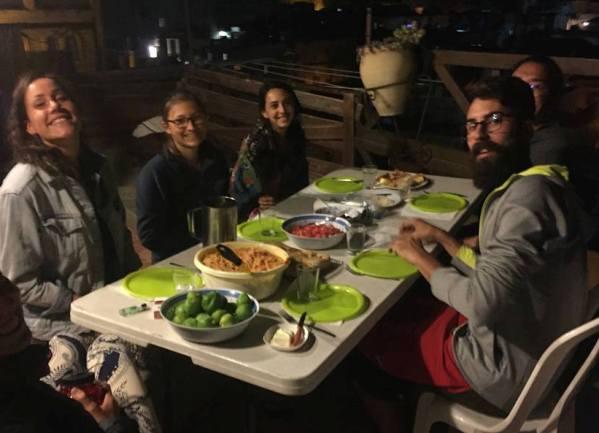 rooftop dinner at the Citadel Youth Hostel in Jerusalem
