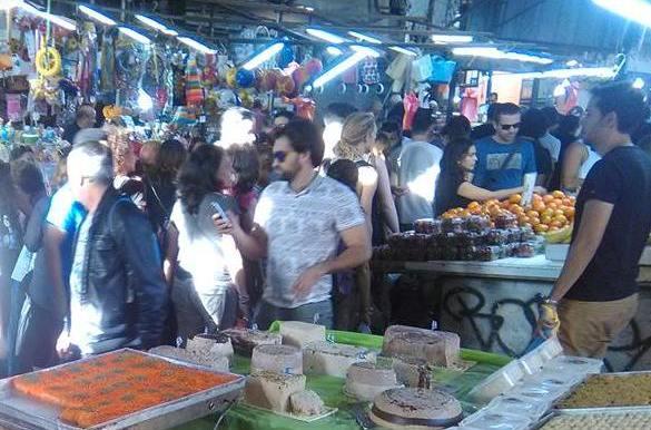 throngs of shoppers in Carmel Market Tel Aviv