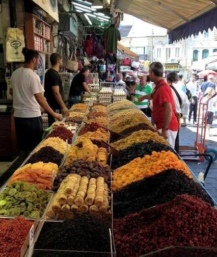 dried fruit stand at Mahane Yehuda open air market in Jerusalem