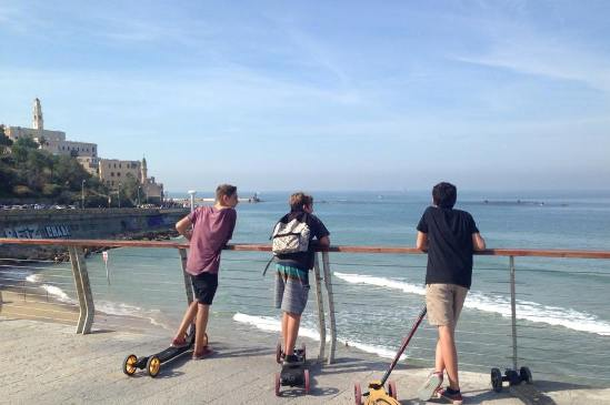 Skateboarding down to the Jaffa Port from Tel Aviv