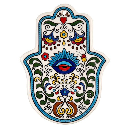 A 'Hamsa' wall hanging made in Armenian ceramics is a perfect souvenir from Israel