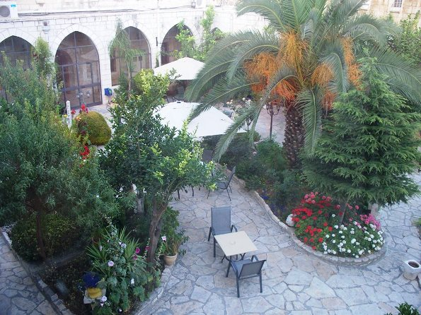 beautiful garden at St. George's Cathedral guesthouse in Jerusalem