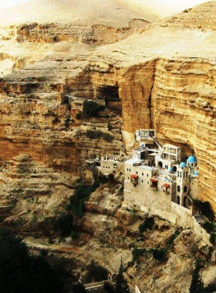 St. George Monastery perched in the mountainside of Qelt Valley between Jerusalem and Jericho