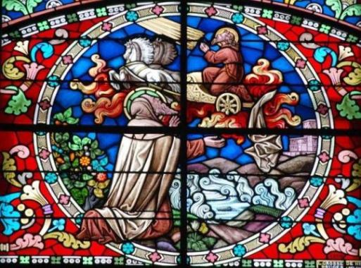 stained glass windows at the Stella Maris Monastery in Haifa in the north of Israel