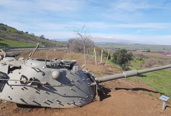 Syrian tank near the border of the Golan Heights in the far north of Israel