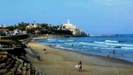 Alma beach with a view of old Jaffa