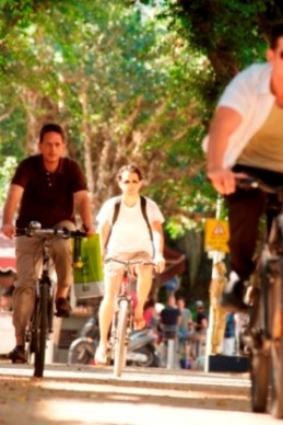biking in Tel Aviv's Rothschild Boulevard