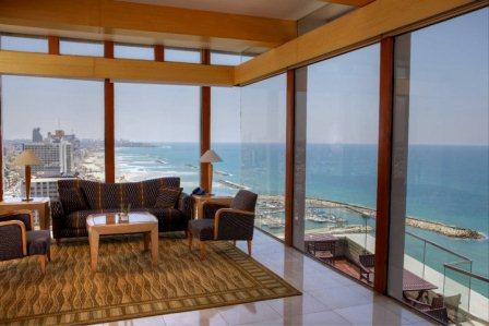 stunning view from the hilton tel aviv hotel vista lounge on the 17th floor