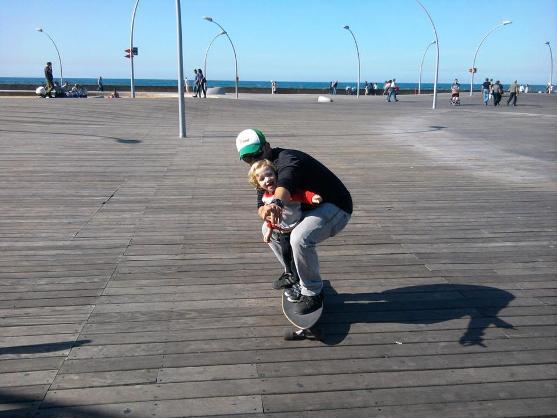 Rollerblading on the wooden decks of the port of Tel Aviv