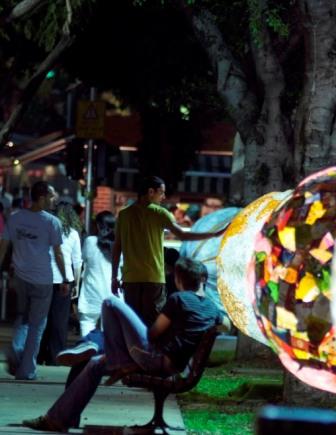 Tel Aviv Streets Rotschild outdoor art nighttime