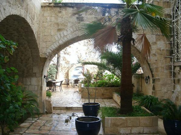 garden terrace at the Lutheran gueshouse in the old city of Jerusalem