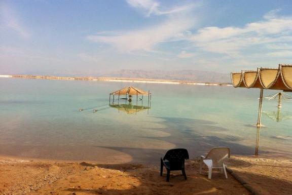 beach along the Dead Sea, Israel