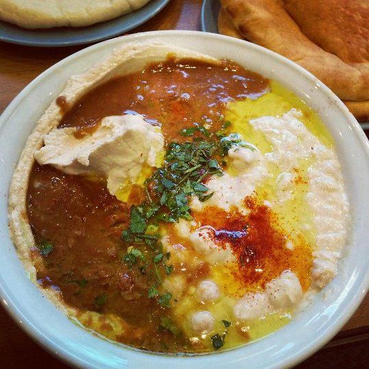 The triple dish, the meshulash at Abu Hasan for the best hummus in Tel Aviv