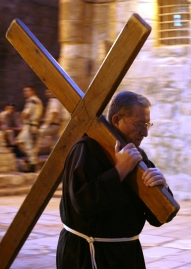 Walking along the Via Dolorosa - the Way of Sorrow in Jerusalem