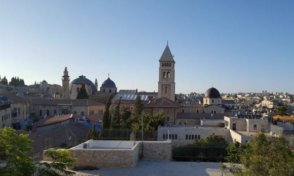 view of the Lutheran guesthouse and Church of the Redeemer in Jerusalem's Old City