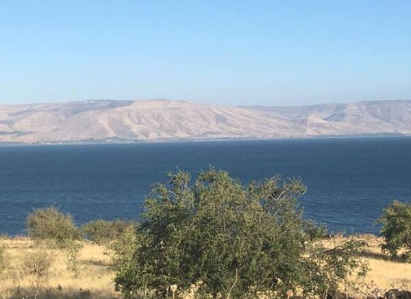 view of the Golan Heights from the Sea of Galilee