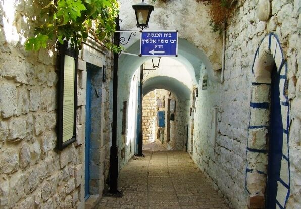 Winding alleyways in Safed or Tsfat in Hebrew, a mountaintop city in the Galilee, Israel