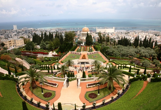 one of the best views in the world from the Bahai Gardens in Haifa