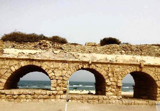 ancient aqueduct in Caesarea, Israel