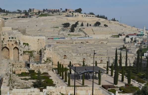 View of the vast cemetery of the Mount of Olives from the Davidson Center in the Old City Jerusalem