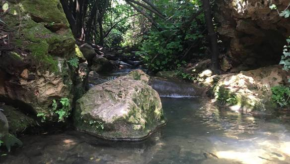 Hiking along Nahal Amud, Amud Stream in the Galilee in the north of Israel