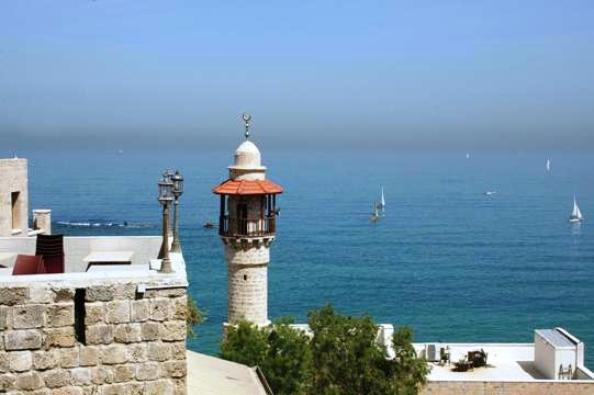 view of jaffa tel aviv and the sea mosque