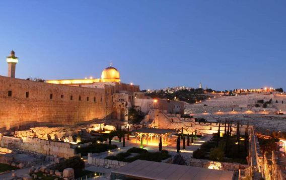The Old City of Jerusalem at night - the Temple Mount Archaeological Park
