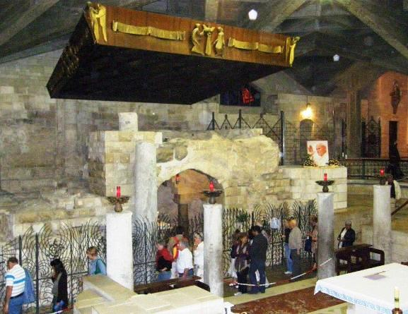 Descending to Mary's Grotto in Anunciation Church in Nazreth