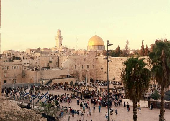 vista of the Old City of Jerusalem, the Temple Mount and the Western Wall