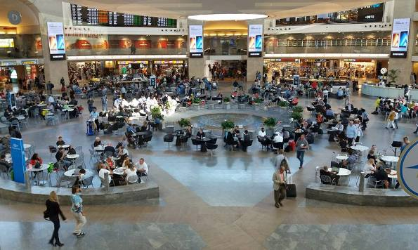 Tel Aviv Ben Gurion Airport central waiting area for your flight