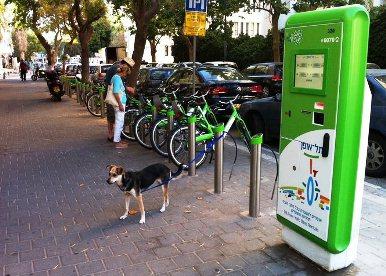 TelOFun bike station in Tel Aviv