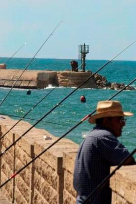 fisherman at the port in Jaffa Israel