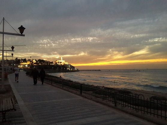 View of Old Jaffa in Tel Aviv as night falls