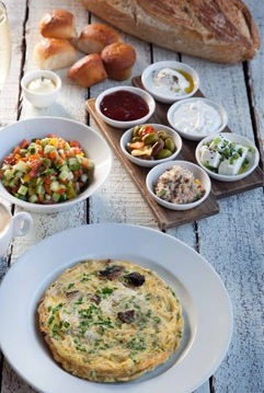 classic Israeli breakfast at Namal Tel Aviv Port