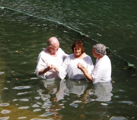 Baptism at Yardenit where the Sea of Galilee meets the Jordan River